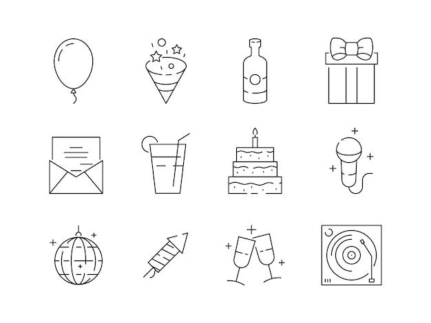 Imprezowe cienkie ikony. impreza celebracja urodziny zabawa rozrywka party kulki i ciasta wektor liniowe symbole na białym tle