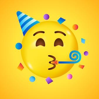 Imprezowe emoji. szczęśliwa buźka z urodzinowym kapeluszem i konfetti. duży uśmiech w 3d