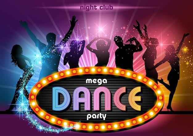 Imprezowicze tło z neonowym znakiem mega dance party