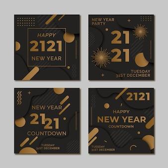 Imprezowy post na instagramie ustawiony na nowy rok 2021