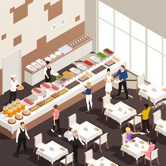 Imprezy firmowe uroczystości catering sala usługowa widok izometryczny z białą pościelą stołową przekąski napoje ilustracja w formie bufetu