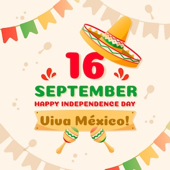 Independencia de mexico z czapką i girlandami