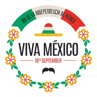 Independencia de mexico z kwiatami