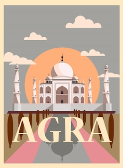 India agra plakat retro taj mahal