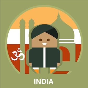 India mieszkaniec na krajowej tło ilustraci