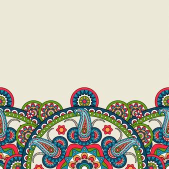 Indian boho kwiatowy granicy paisley