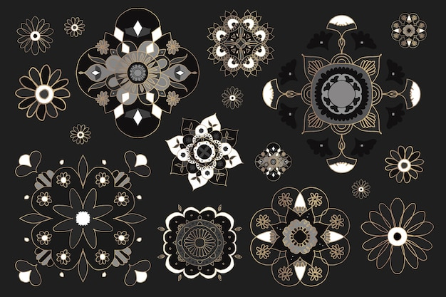 Indian mandala element symbol wektor kolekcja orientalnych kwiatów ilustracji