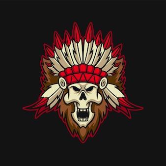 Indian skull esport gaming logo