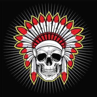 Indian skull native american warrior logo z ilustracji wektorowych czerwone pióro