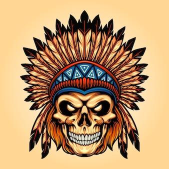 Indian zły czaszka na białym tle ilustracje wektorowe do pracy logo, koszulka z towarem maskotka, naklejki i projekty etykiet, plakat, kartki okolicznościowe reklamujące firmę lub marki.