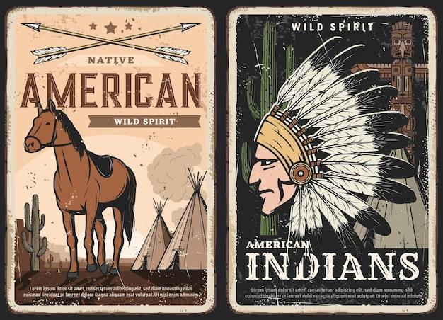 Indianie, plakaty retro z duchami indian, grungy banery