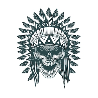 Indiańska czaszka. monochromatyczne ręcznie rysowane stylu tatuaż