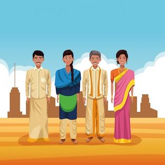 Indiańska grupa ind kreskówka