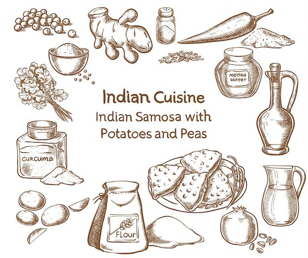 Indiańska kuchnia samosa z grulami i grochami składniki