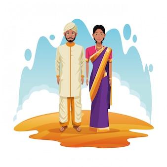 Indiańska para ind kreskówka