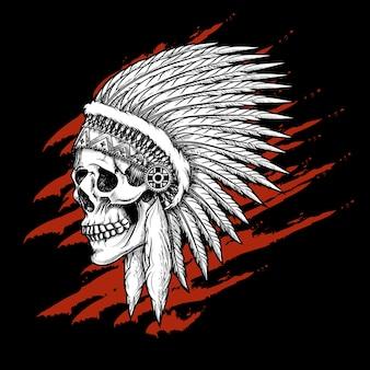 Indiańska plemienna czaszka z piórami