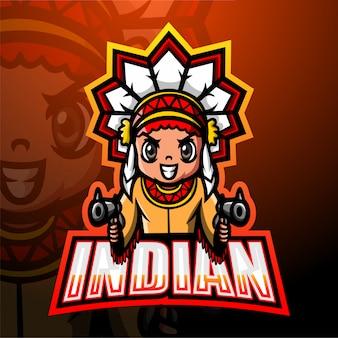 Indiańska strzelająca maskotki esport ilustracja