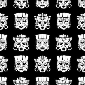 Indiański aztec i afrykański plemienny vodoo maski bezszwowy wzór