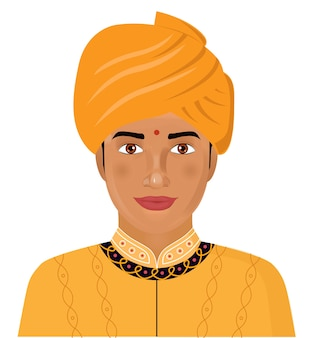 Indiański młody człowiek w tradycyjnej odzieży