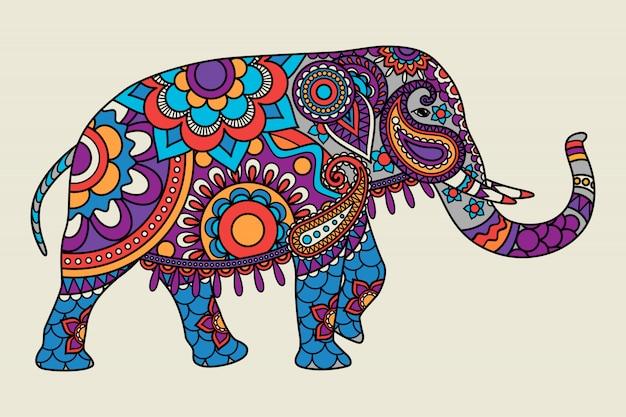 Indiański ozdobny słoń barwił illistration