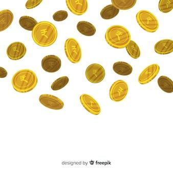 Indiańskiej rupii monet spada tło