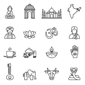 Indie, kolekcja ikon. styl wektor cienka linia.