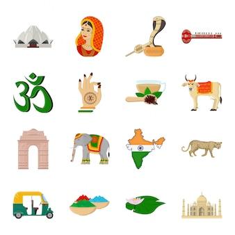 Indie kraju kreskówka zestaw ikon