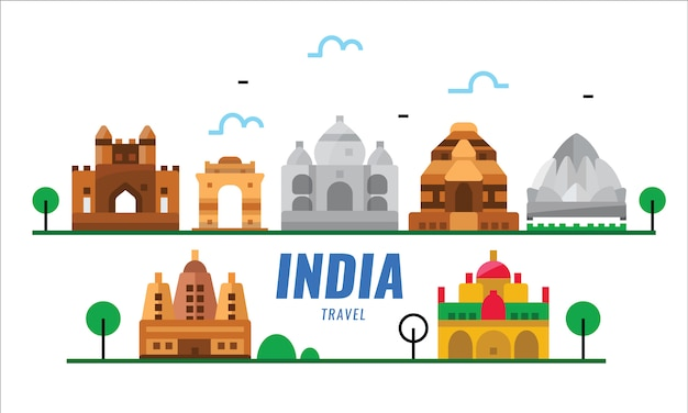 Indie podróży. scena zabytków. płaskie elementy plakatu i transparentu.