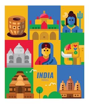 Indie podróży. zabytki, scena ludzi i kultury. płaskie elementy plakatu i transparentu.