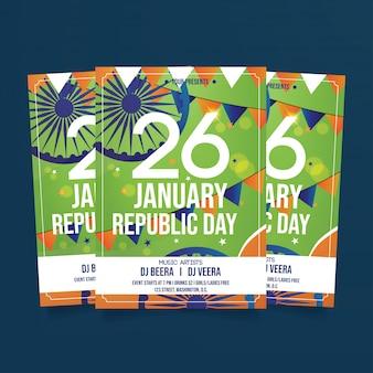 Indie republika dzień ulotka szablon