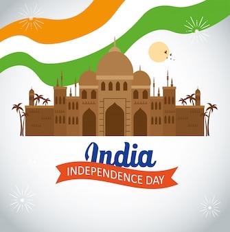 Indie szczęśliwy obchody dnia niepodległości ze słynnym zabytkiem