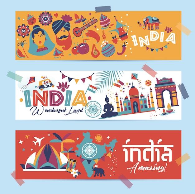 Indie ustawić kraj azjatycki architektura indyjska tradycje azjatyckie buddyzm podróżują izolowane ikony i symbole w 3 banerach.