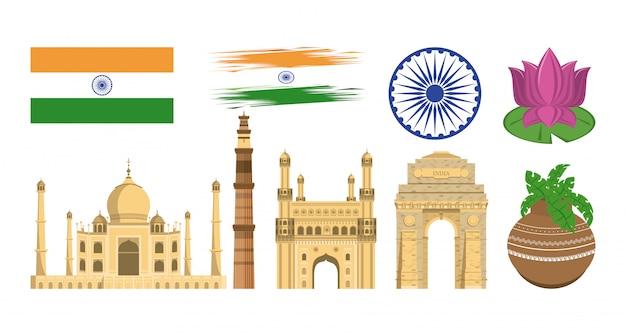 Indie zestaw ikon zabytków i emblematów