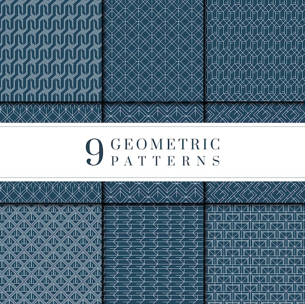 Indigo kolekcja farbowanych wzorów geometrycznych