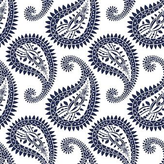 Indigo paisley ozdobny wzór elegancki wschodni projekt luksusowe tło boho