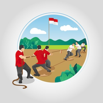 Indonezja independence tug of war games