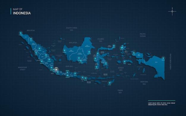 Indonezja mapa ilustracja z niebieskimi punktami światła neonowego