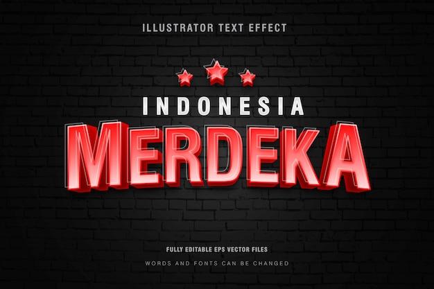 Indonezja merdeka efekt stylu tekstu na tle ściany z cegły, w pełni edytowalny plik wektorowy eps