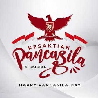 Indonezja narodowy baner dnia pancasila z czerwonym i białym tłem