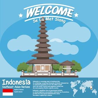 Indonezja punkt orientacyjny ulun danu beratan świątynny jezioro w bali z infographics