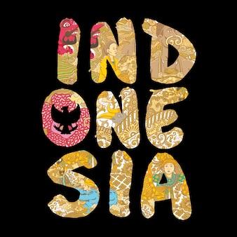 Indonezja ręcznie wykonane napis ilustracja