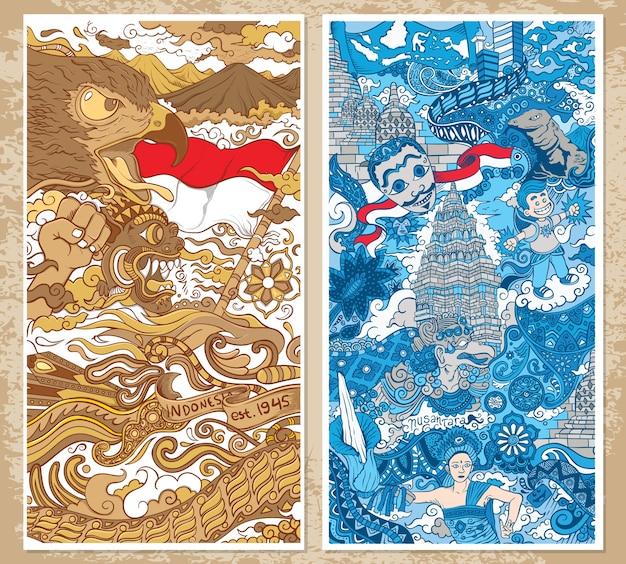 Indonezja tradycyjny ornament ilustracja