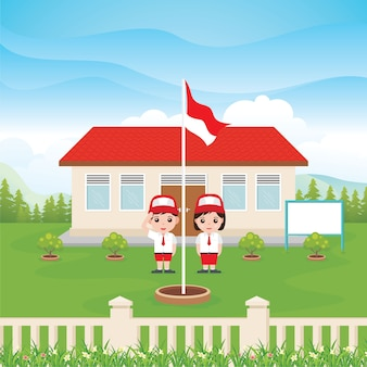 Indonezyjska szkoła podstawowa z dwójką dzieci i flagą na zielonym podwórku