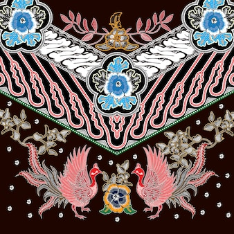 Indonezyjski batik o dominującym brązowym kolorze