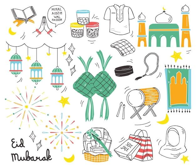 Indonezyjski eid al adha festiwal w doodle stylu