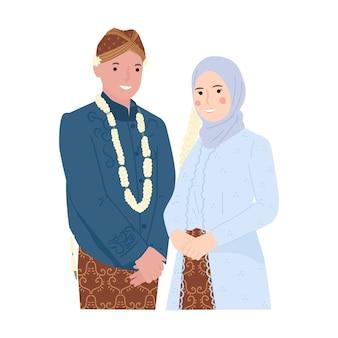 Indonezyjski ładny ślubny portret pary młodej i pana młodego
