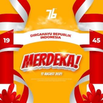 Indonezyjski obchody 76. dnia niepodległości w tle oznacza dirgahayu republik indonesia