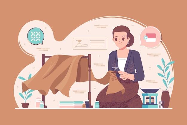 Indonezyjski tradycyjny batik ilustracja tło