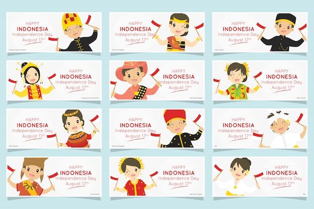 Indonezyjskie dzieci w tradycyjnych strojach. ustaw baner dzień niepodległości indonezji