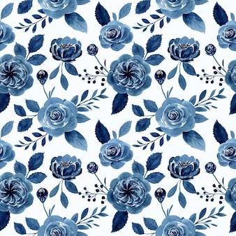 Indygo niebieski kwiat róży akwarela bezszwowe wzór